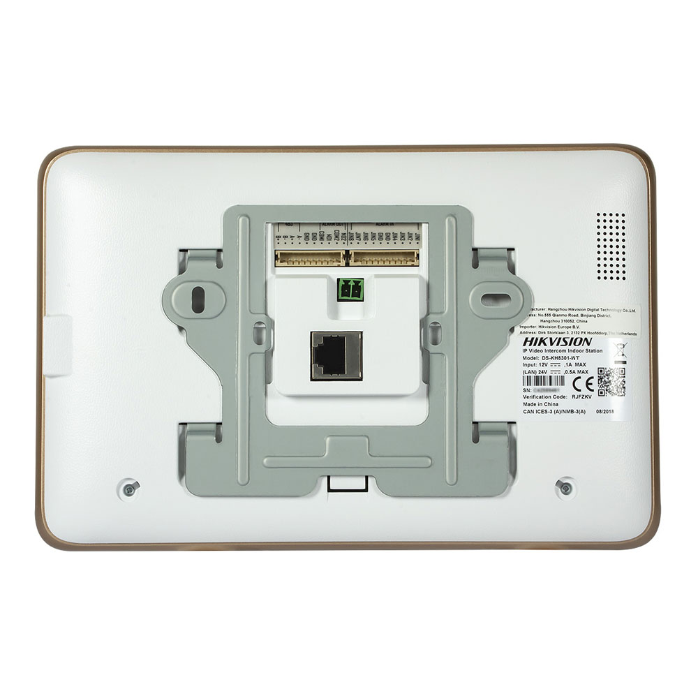 Hikvision DS-KH8301-WT Video Intercom Indoor Station with 7-inch Touch Screen, Camera, RJ45
